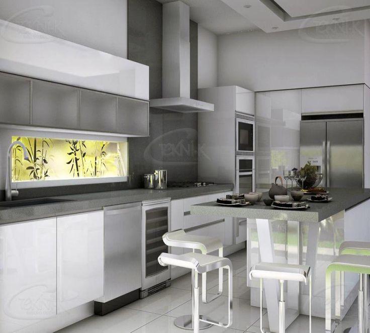 de acuerdo a las tendencias esta cocina ha sido diseada con gabinetes al alto brillo