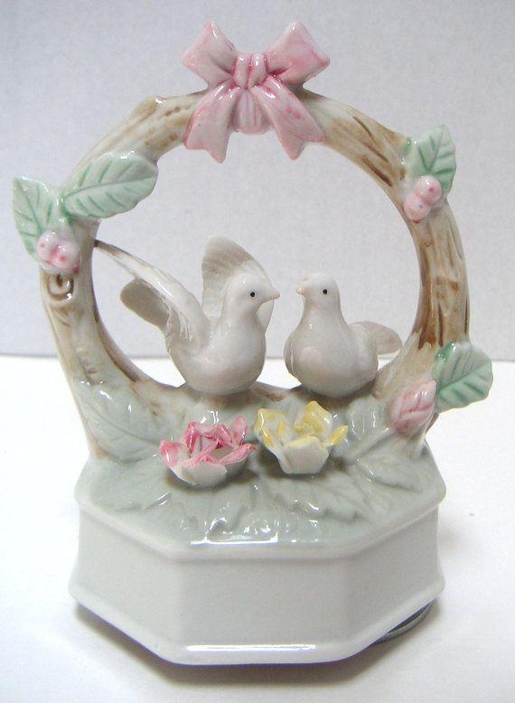 Vintage Music Box PorcelainPlays Love Me TenderLove by QVintage, $50.00