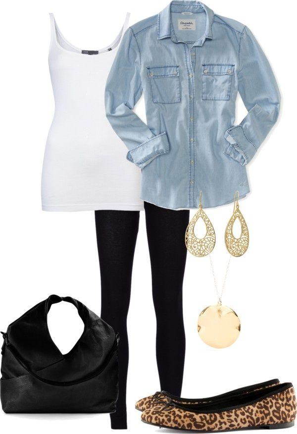 Denim Shirt & Leopard Flats Outfit.