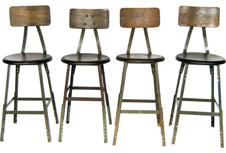 Midcentury Industrial Stools, Set of 4 - One Kings Lane - Vintage & Market Finds - Furniture