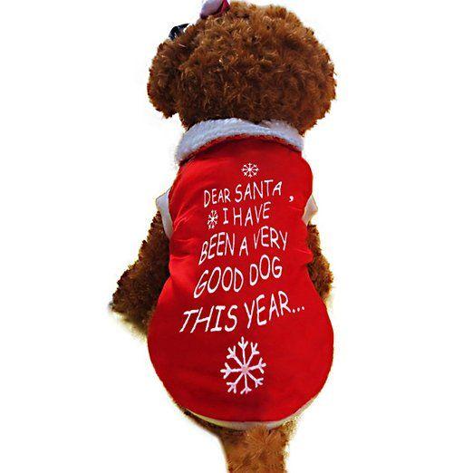 Vakind Haustier Weihnachts Pullover Mantel Hund Katze Bekleidung  Buchstaben Gedrucktes T Shirt Rot