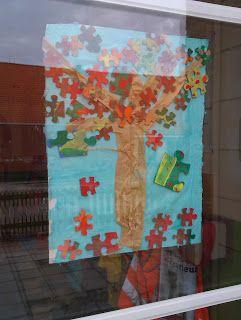 Made by MaZella: herfstbomen met puzzelstukken
