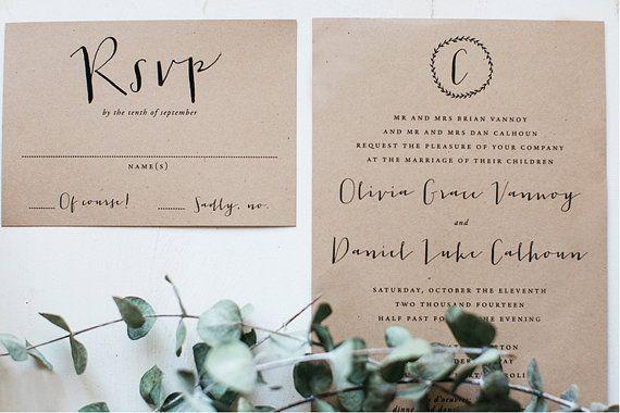 Rustic Laurel Wedding Invitation Printable by howlcreativeco