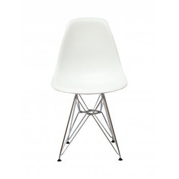 White plastic Moulded Chair  http://www.mdmfurniture.com/furniture-c24/chairs-c28/charles-eames-charles-eames-style-dsr-eiffel-white-dining-chair-p17