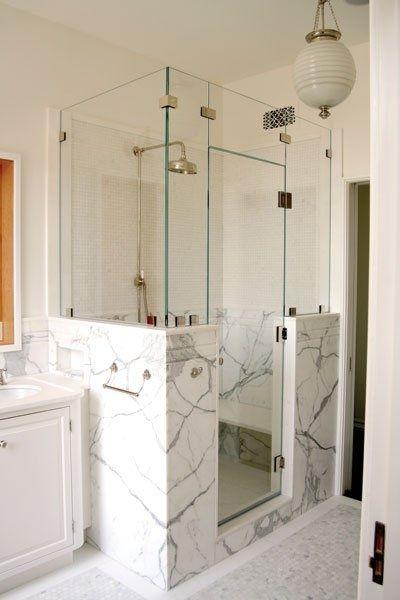 Full half wall shower with frameless glass