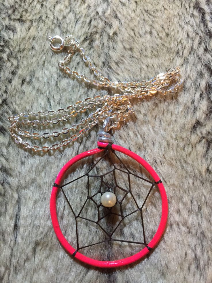 Hand wrapped, woven and painted neon hot pink dreamcatcher pendant with white glass pearl and 18' nickel free chain by EarthDiverCreations on Etsy https://www.etsy.com/ca/listing/496800779/hand-wrapped-woven-and-painted-neon-hot