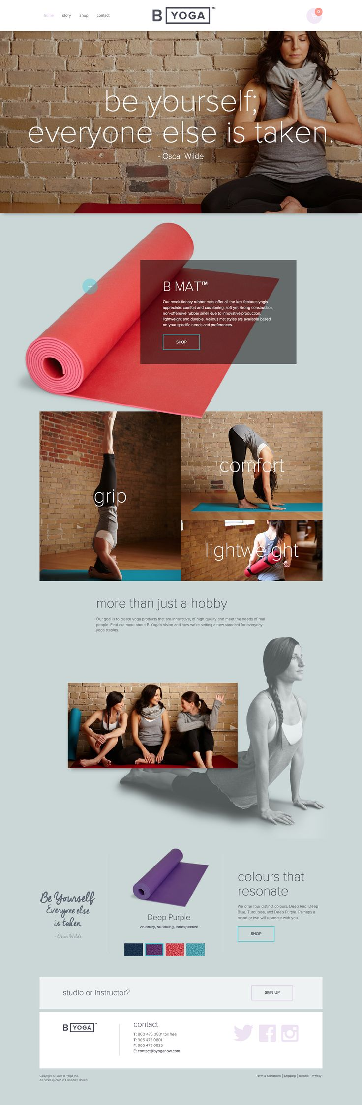We like the look of the overlapping images used in B Yoga's website design. #webdesign #gridlayout #photography