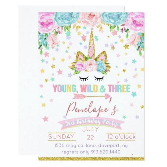 Young Wild And Three Unicorn Birthday Invitations