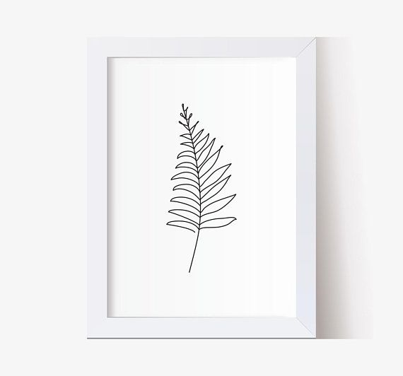 Fern leaf wall art decor. Line art print, Abstract Botanic art, Single line drawing, Minimalistic art, Black and white wall art, Nature
