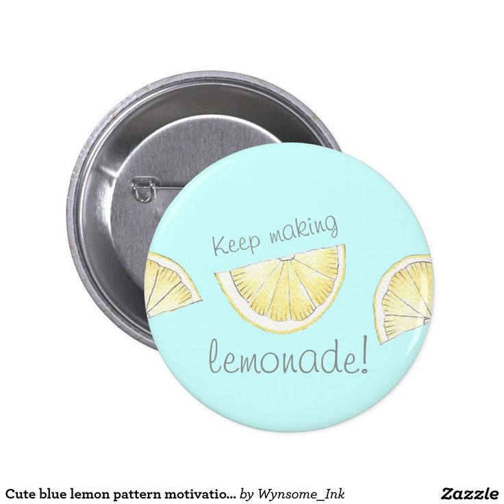 Cute blue lemon pattern motivational pin