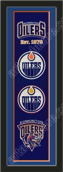 This framed Edmonton Oilers heritage banner, double matted in team colors to 8 x 32 inches. $119.99  @ ArtandMore.com