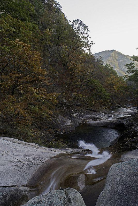 Trail heading up towards Biryong Falls in Gangwondo.  http://www.mattmacdonaldphoto.com