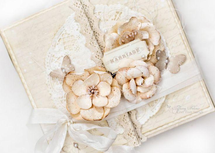 Shabby chic vintage wedding mini album tutorial.