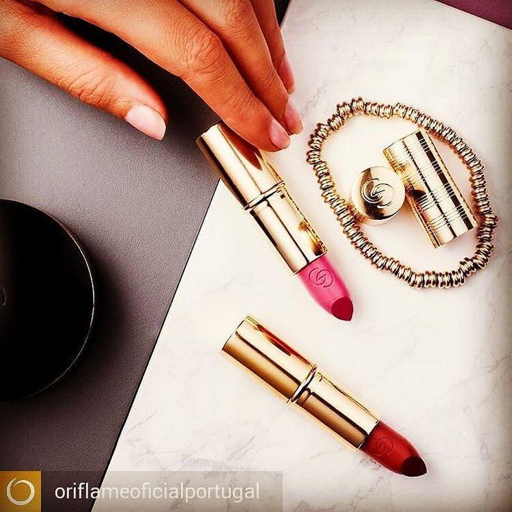 @Regrann from @oriflameoficialportugal -  Qual a sua cor de eleição para este fim de semana? Rosa ou Vermelho? #batom #GiordaniGold #maquilhagem - #regrann