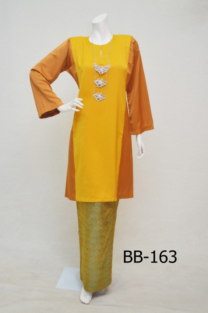 Baju Kurung Pahang BB-163 (ORANGE-YELLOW) | Type: COLOR - BLOCKING BROKAD | RM229.00
