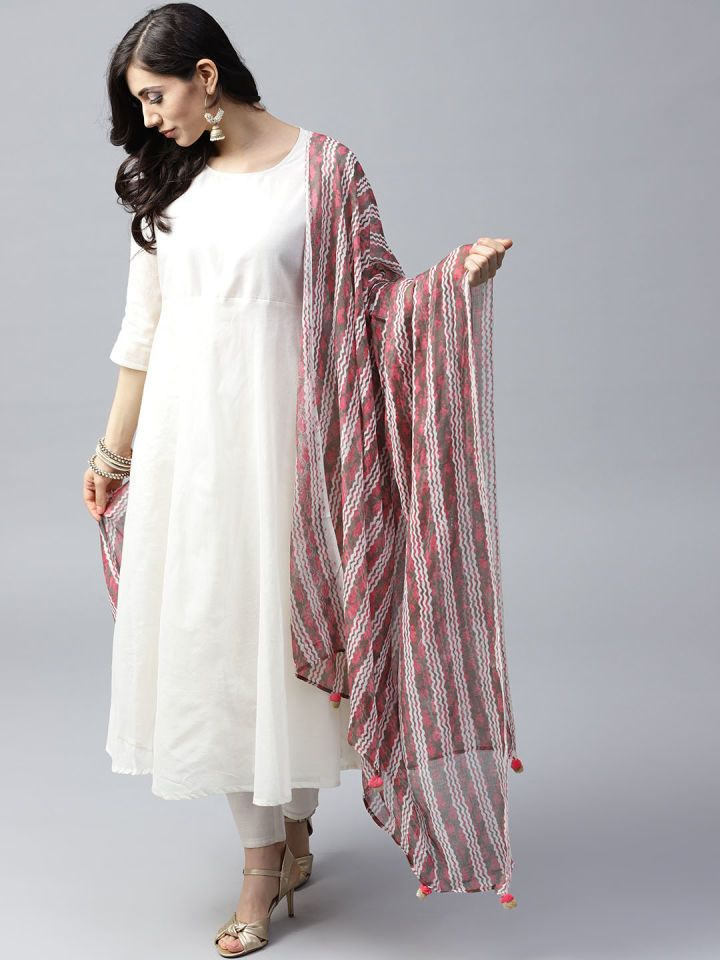 Buy Aks Pink Taupe Striped Dupatta Dupatta For Women