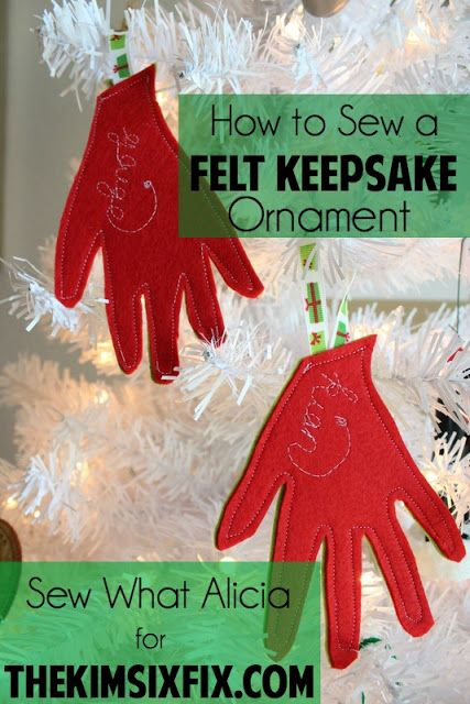 How to Sew a Felt Keepsake Ornament- these would be so cute if they were your child's hand every year. They would grow and grow.