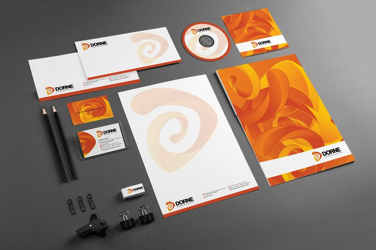 Projeto de criação de logotipo, papelaria e folder institucional para Dorne Comunicação de Cuiabá-MT. Empresa produtora de vídeos, comunicação e marketing.