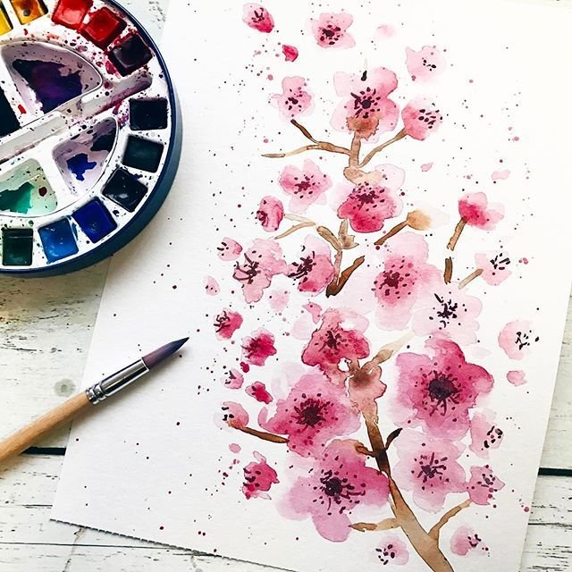Cherry blossoms | watercolor | pink