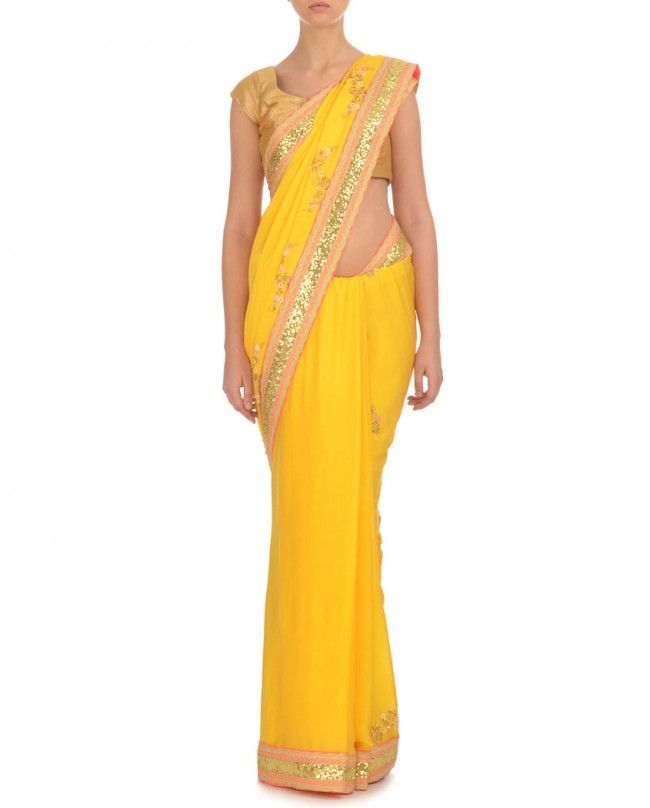 Blazing Yellow Sari with Golden Blouse - Madsam Tinzin - Designers #Ethnic #Traditional #Desi #Indianfashion #Indiandesigners #Designerwear #Fashion #Women #Indian