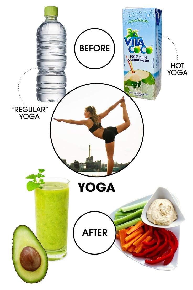 """Before: """"When you are in a headstand with a full belly, it is hard to be zen,"""" says Equinox trainer Susan Stanley. With that in mind, it's best to stick to water beforehand—though you can make it coconut water if you're headed to Bikram, says James, since the electrolytes it contains will replenish those lost through excessive sweat. After: It's important to refuel, but keep the zen feeling going by choosing a light but wholesome snack. Snyder recommends a green smoothie chock full of…"""