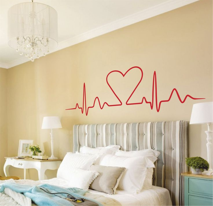 Vinilo decorativo cabecero de cama corazón bioritmos.