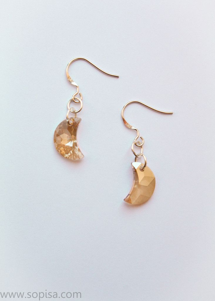 Sterling Silver Earrings With Crystal Moons - www.sopisa.com #moonearrings #boho #moon #mooncrystal