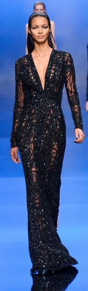 I would saunter about in this with a smokey eye and a strappy heel. Elie Saab Fall 2013