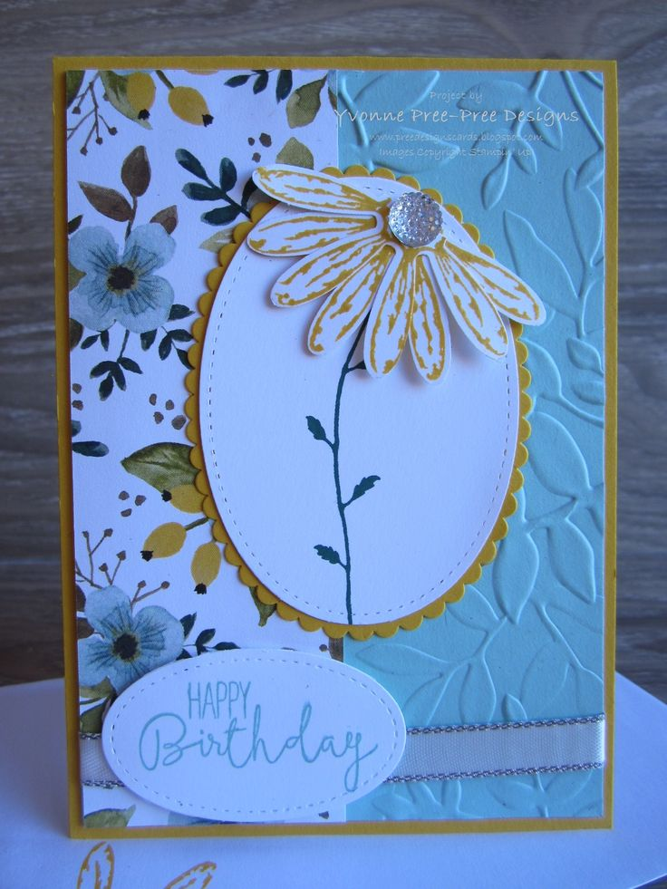 I used the Delightful Daisy stamp set and Daisy punch and simply cut the daisy in half to create the flower here. The colors are taken from the Whole Lot of Lovely DSP, all found in the 2017-18 Stampin' Up! catalogue.