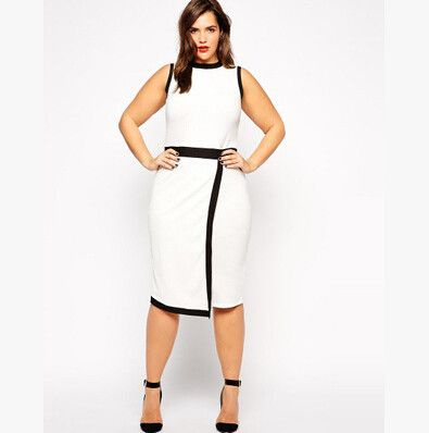 Black and White Sleevless Casual Work Dress