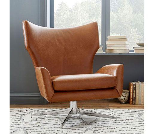 west elm: Hemming Leather Swivel Armchair