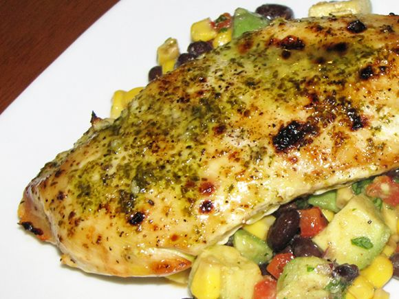 Chicken breasts are brushed with a cilantro and lime glaze to make a ...