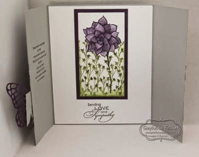 The inside of the card has a panel I stamped with the Nature's Perfection stamp set, using the masking technique - also coloured with Classic Inks and a blender pen.
