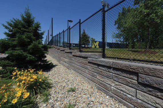 Unilock - University of Michigan with SiennaStone wall in Michigan