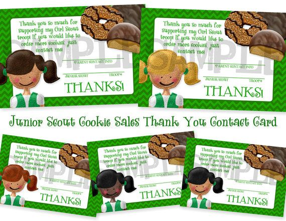 Girl Scouts Junior Cookie Sales Thank You Contact Card - INSTANT DOWNLOAD