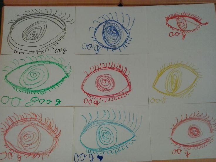 Kern 2:schrijfmotorische tekenopdracht bij het woordje oog