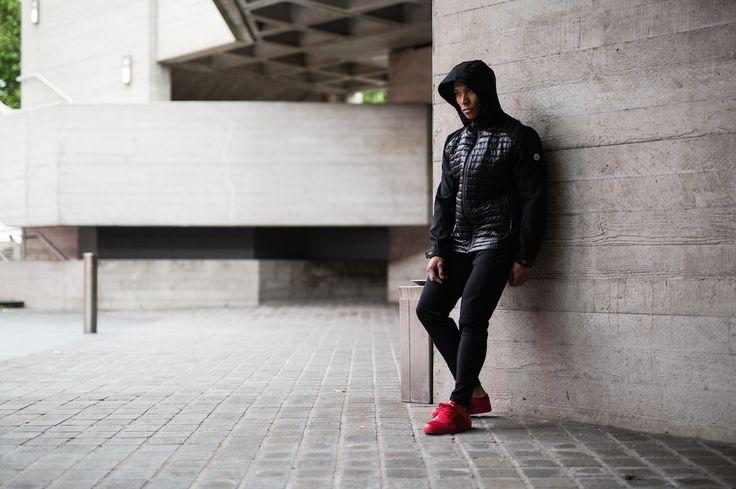 Creative Recreation CULBER Bubble Jacket & CESARIO LO XVI in Red Linear Sport