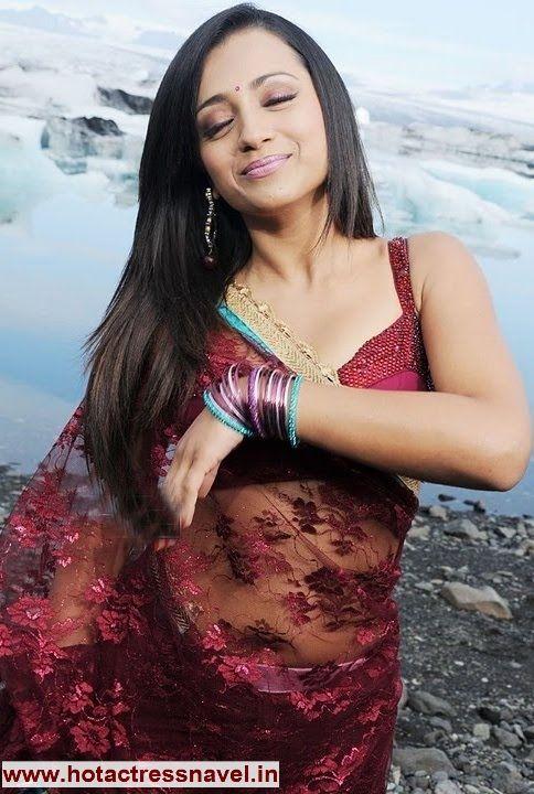 www.hotactressnavel.in - Trisha Krishnan Navel in Transparent Red Sari