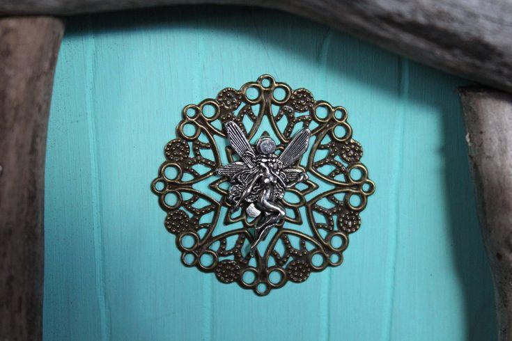 waterdrop aqua blue fairy door, fairy charm