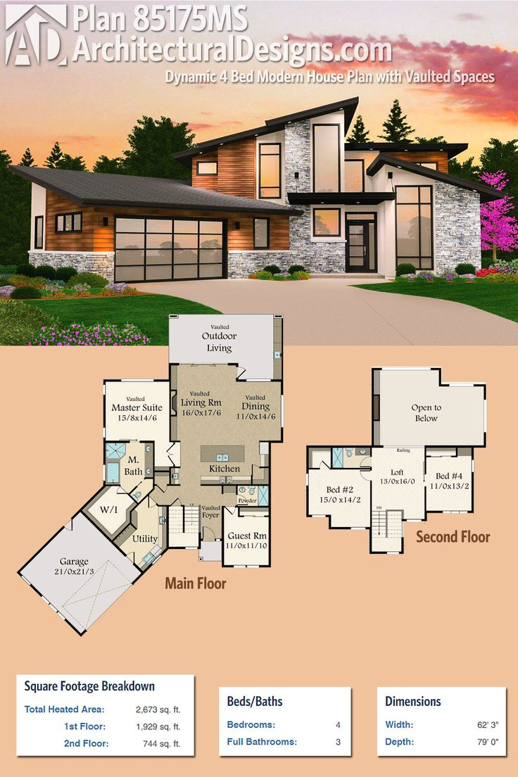 Love love this for our lake house!!!!! Architectural Designs Modern House Plan 85175MS gives you 4 beds and over 2,600 square feet of heated living space. Ready when you are. Where do YOU want to build?