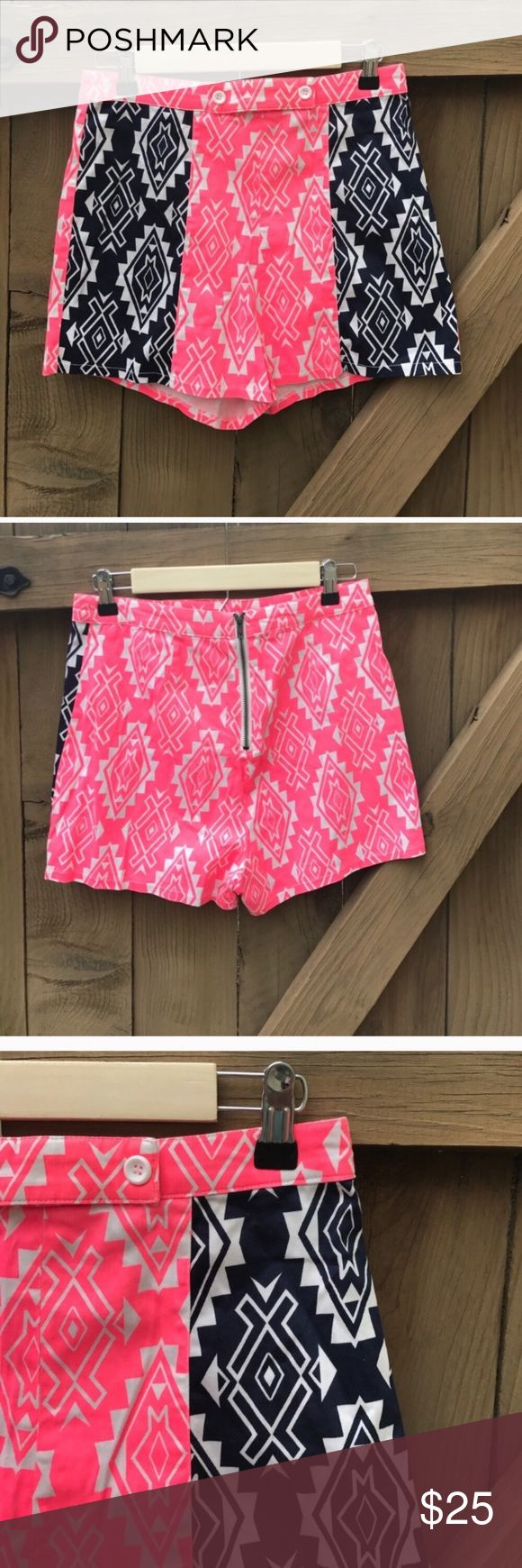 Flying Tomato high waisted aztec print shorts Flying Tomato high waisted aztec print shorts size L:  waist 14 in across, 13 in long from top to bottom, 2 in inseam: location- bin 10 Flying Tomato Shorts