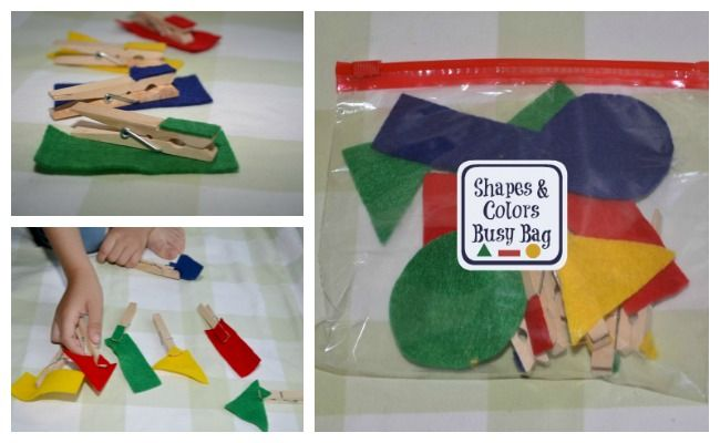 Brincadeiras com pregador de roupa - identificar cores com formas
