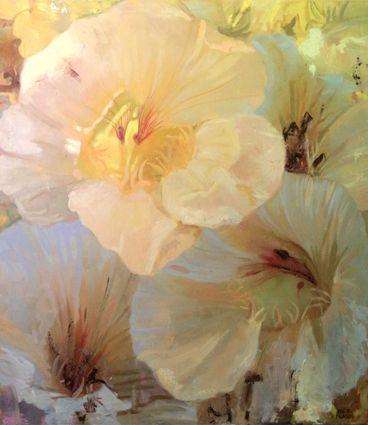 Cress flowers,Oil on canvas 116 x 100cm.2016.