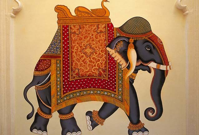 Painted Indian Elephants   have two painting on silk of elephants I bought in India as well.