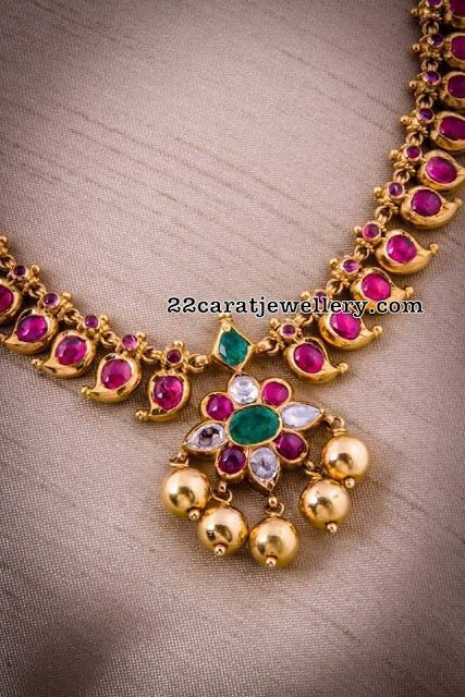 Simple Ruby Necklaces - Jewellery Designs - jewelry, unique, diamond, homemade, dainty, indian jewellery *ad