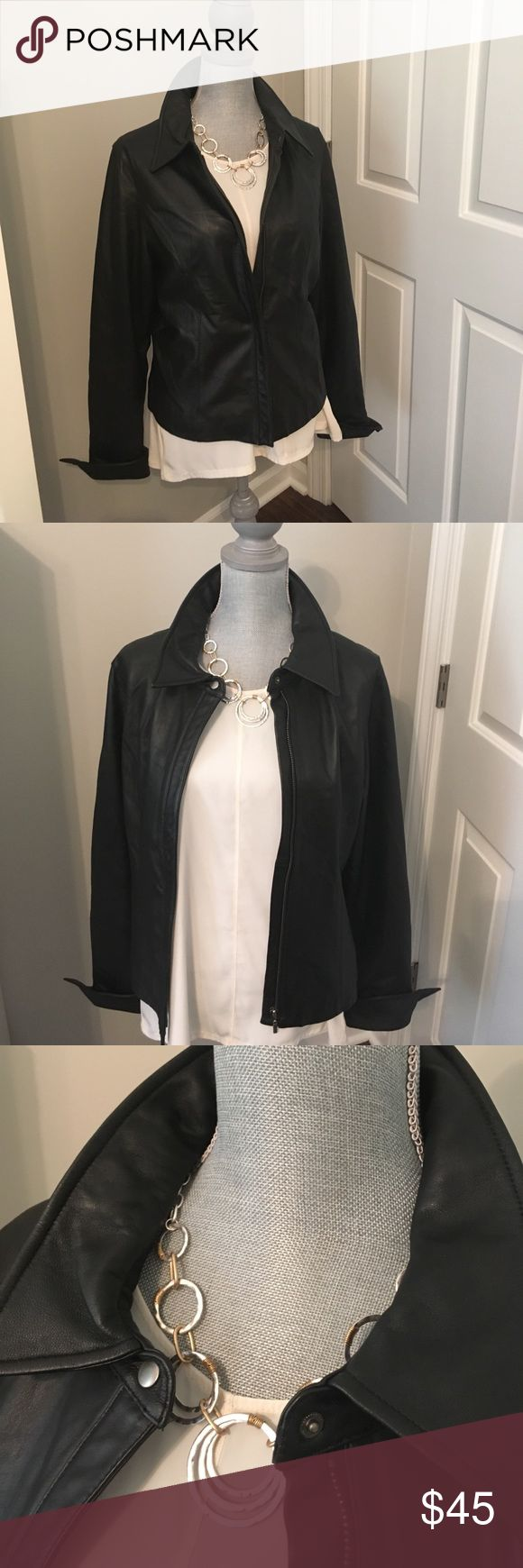 "Ladies Black Leather Jacket Black leather, fully lined jacket with covered zippered front.  Collar and tuxedo cuffs. 20"" armpit to armpit and 12 1/2"" under arm to hem. Gently used condition and very clean. attention Jackets & Coats Blazers"