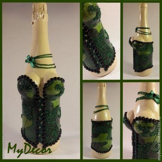 Купить Декор бутылки - болотный, бутылка, бутылка декоративная, бутылка декупаж, бутылочка, подарок