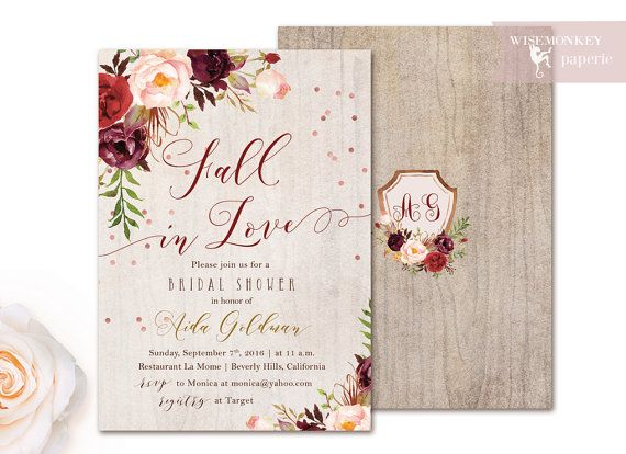 Bridal Shower invitation automne automne par WisemonkeyPaperie