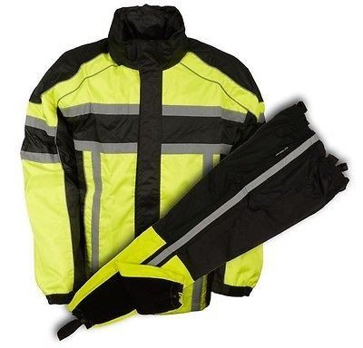 MOTORCYCLE MOTORBIKE RAIN GEAR MEN'S RAIN SUIT BLK&NEON GREEN WATERRES – Leather Place