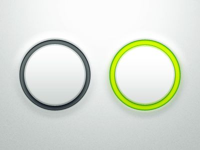 elements: backlit ring around button. button protrudes from surface. Easy to clean.